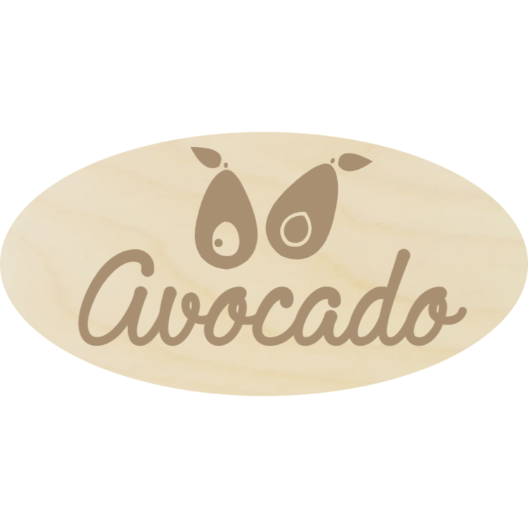 Wooden avocado sign