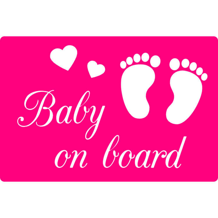Pink baby on board sticker