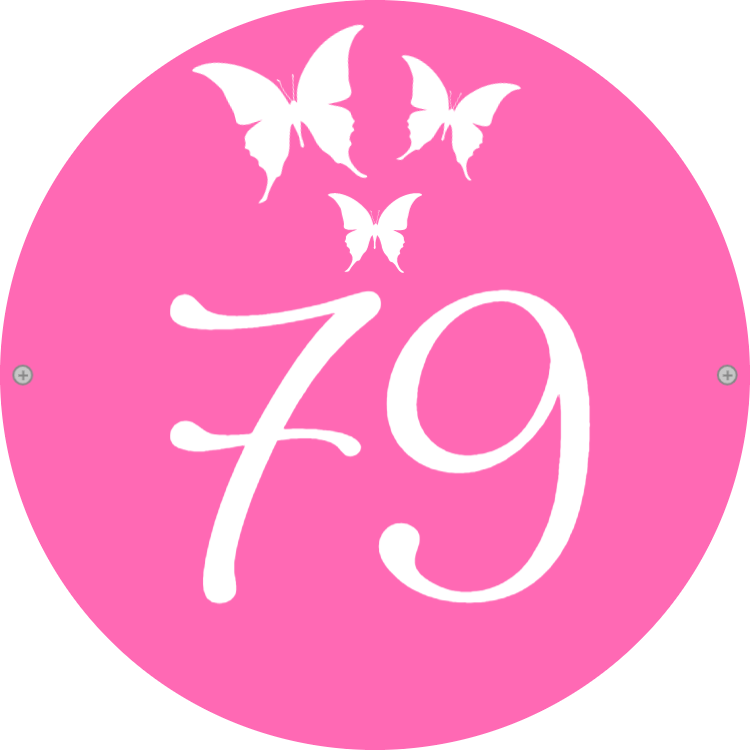 Pink house number sign with butterflies