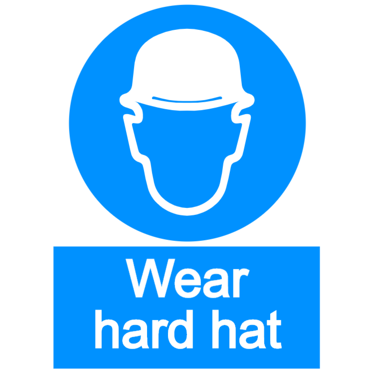 Wear hard hat - portrait sign