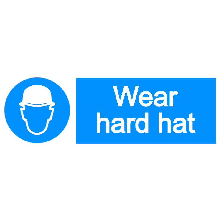 Wear hard hat - landscape sign