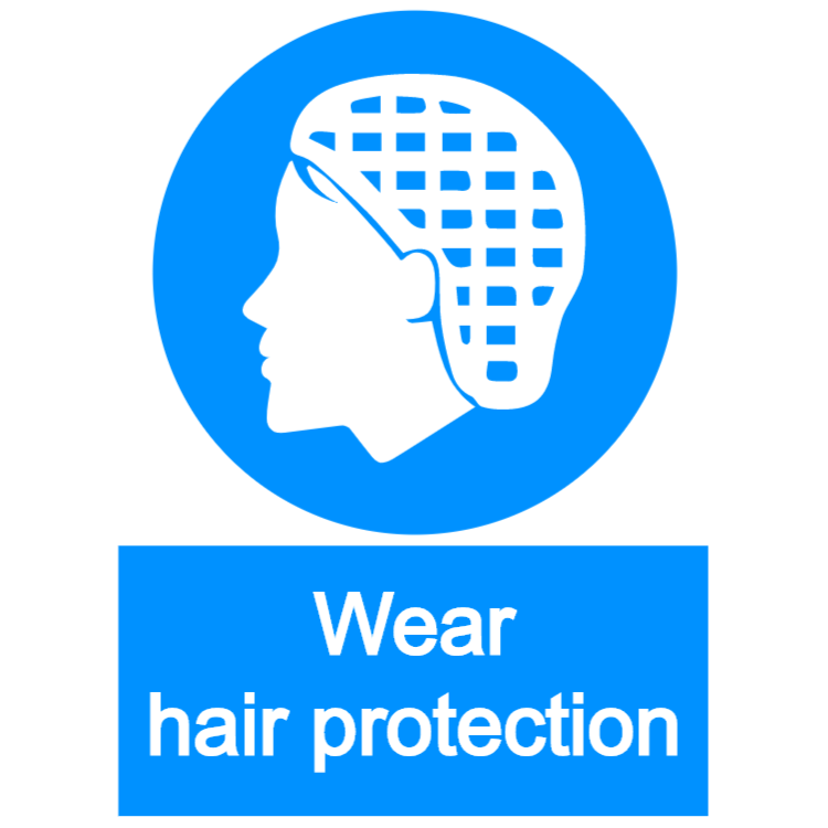 Wear hair protection - portrait sign