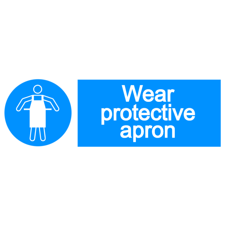 Wear protective apron - landscape sign
