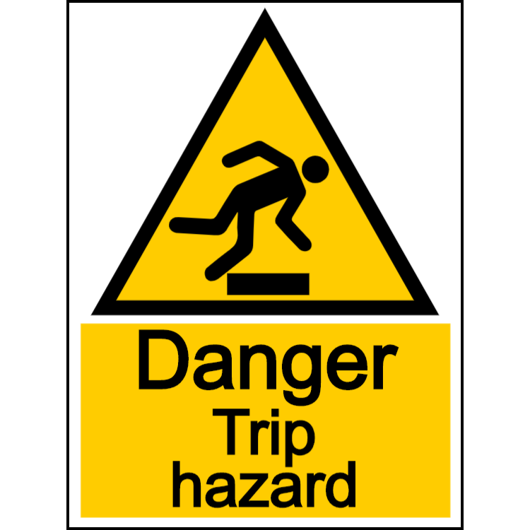 Danger trip hazard - portrait sign