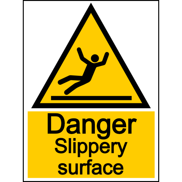 Danger slippery surface - portrait sign
