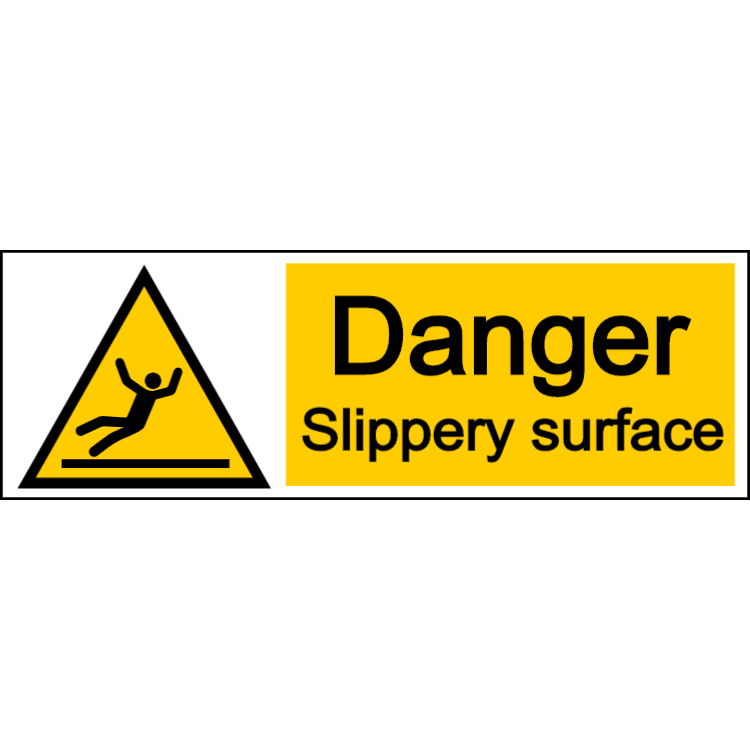 Danger slippery surface - landscape sign