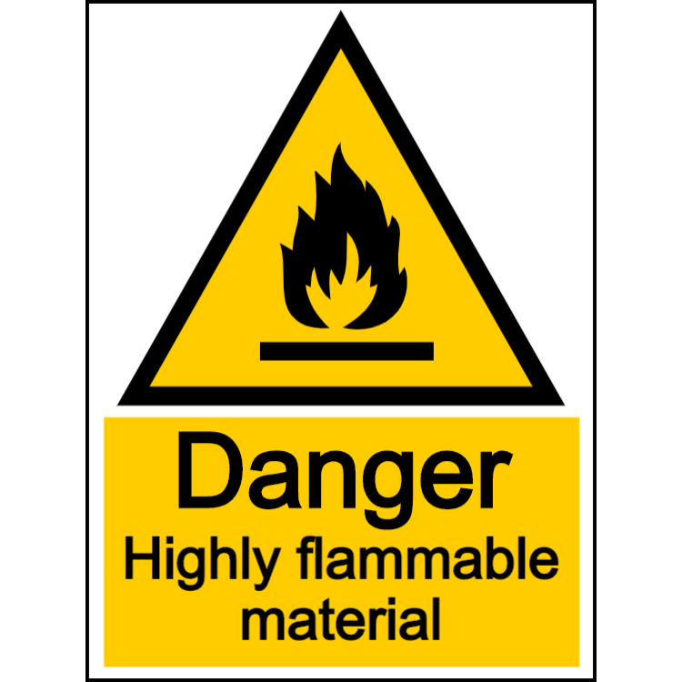 Danger highly flammable material - portrait sign