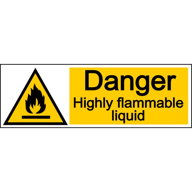 Danger highly flammable liquid - landscape sign