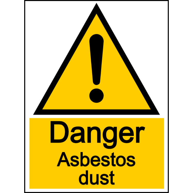 Danger asbestos dust - portrait sign