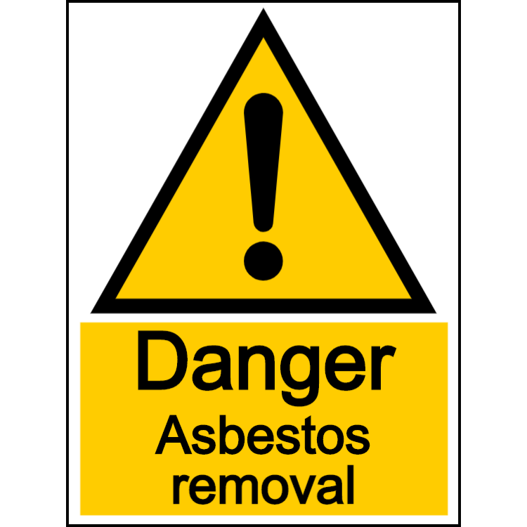 Danger asbestos removal - portrait sign