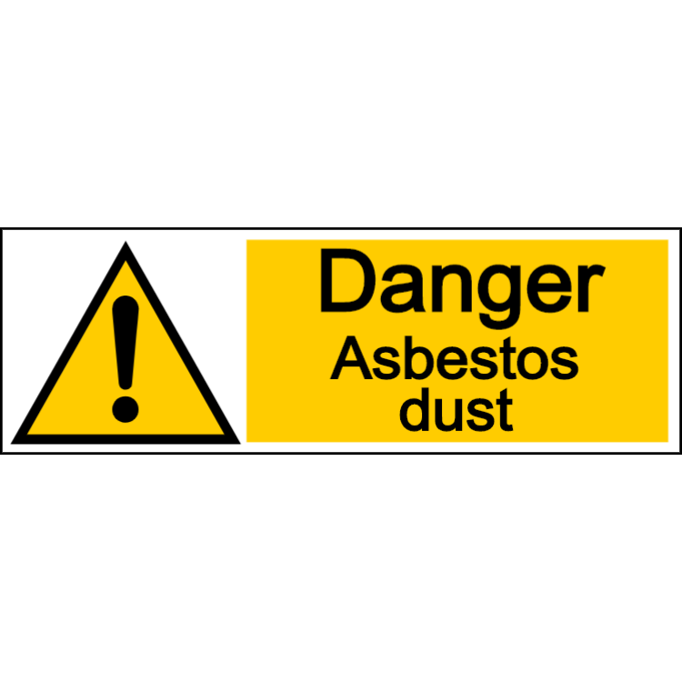 Danger asbestos dust - landscape sign