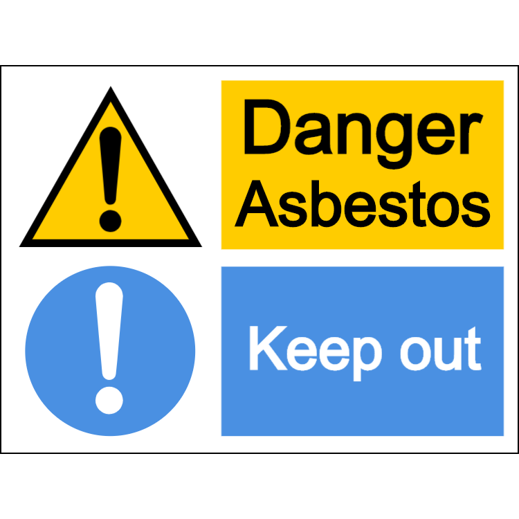 Danger asbestos/keep out - large landscape sign