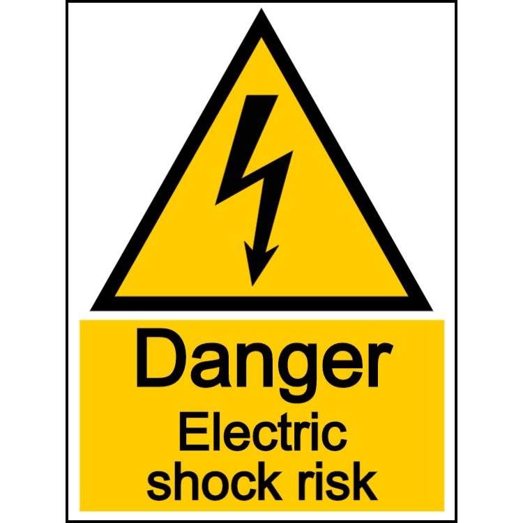 Danger electric shock risk - portrait sign