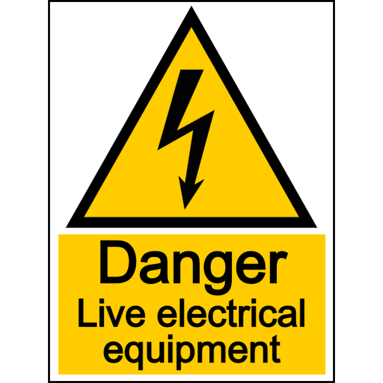 Danger live electrical equipment - portrait sign