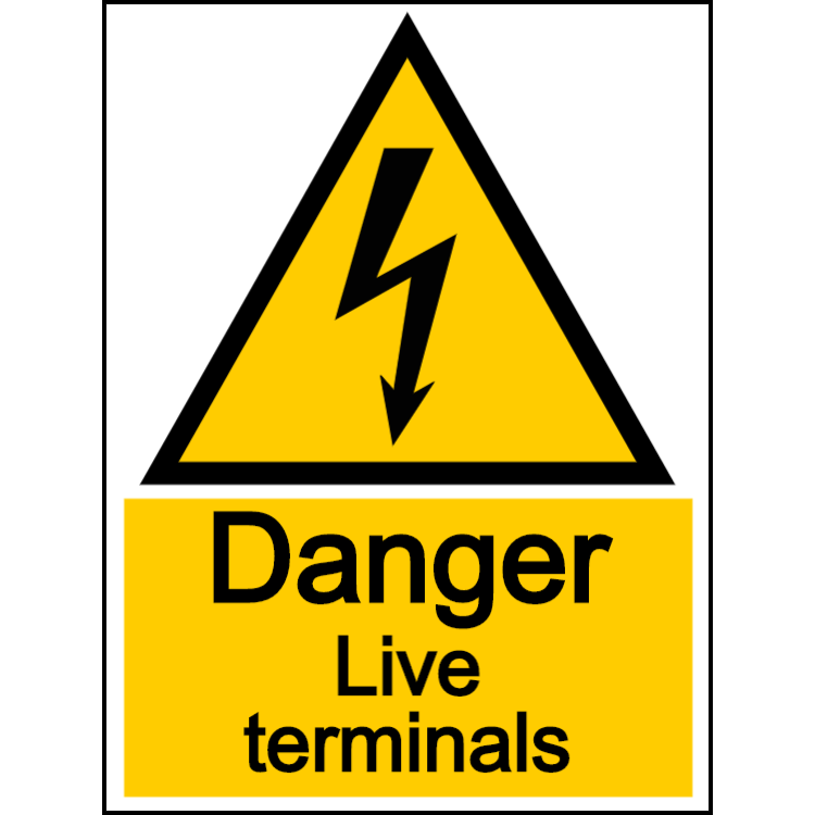 Danger live terminals - portrait sign