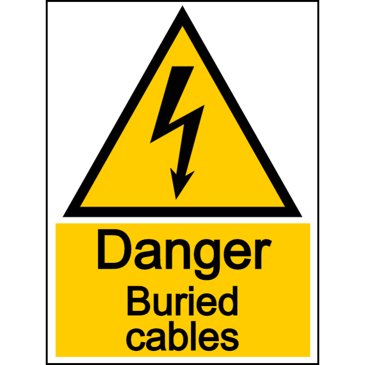 Danger buried cables - portrait sign