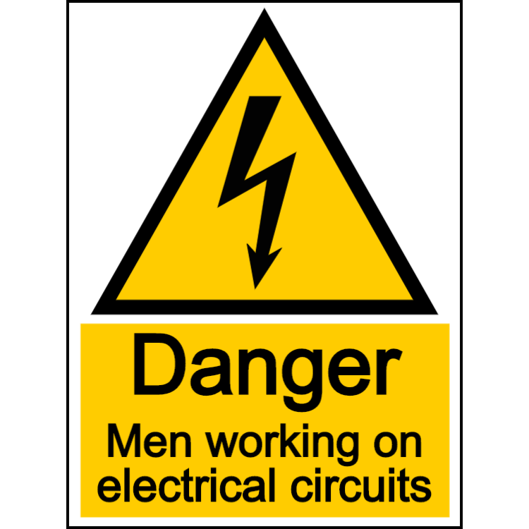 Danger men working on electrical circuits - portrait sign