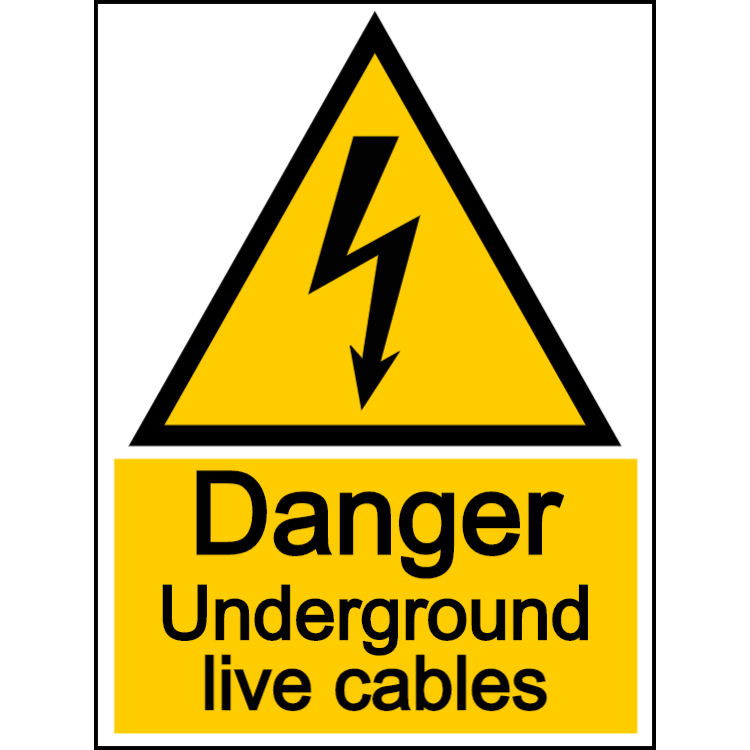 Danger underground live cables - portrait sign