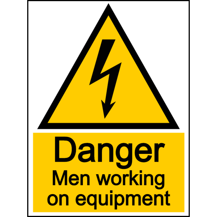 Danger men working on equipment - portrait sign