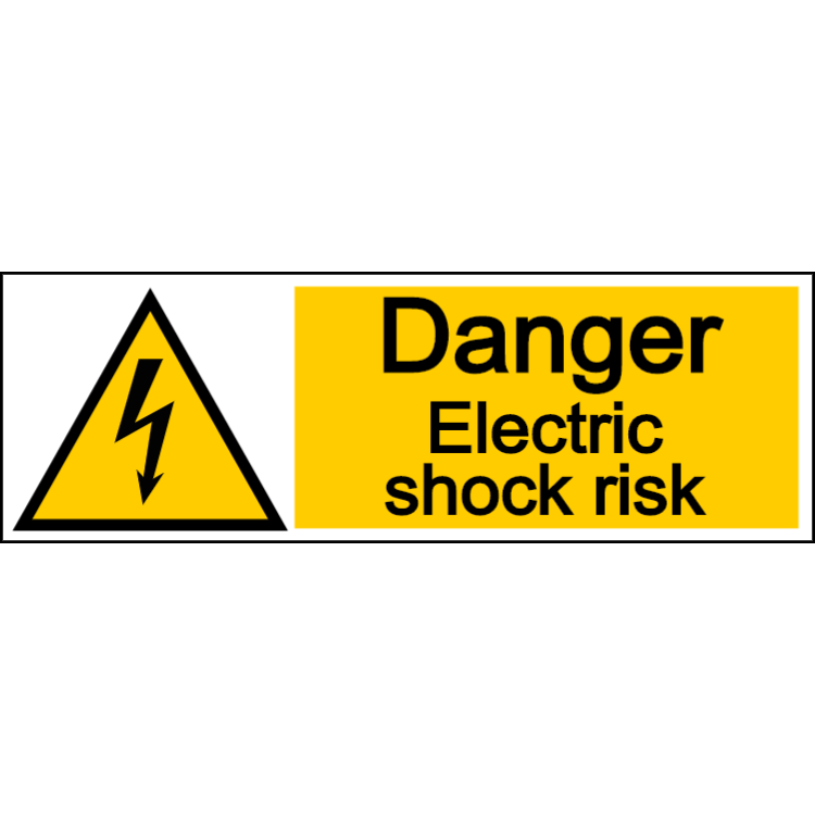Danger electric shock risk - landscape sign