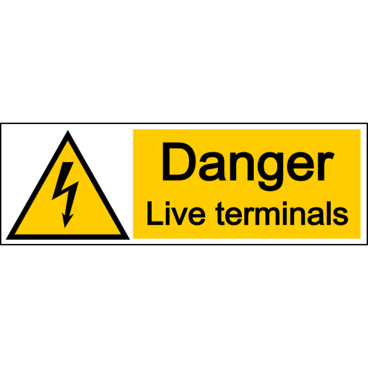 Danger live terminals - landscape sign