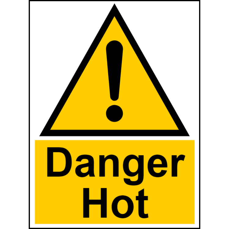Danger hot - portrait sign