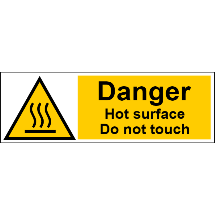 Danger hot surface do not touch - landscape sign