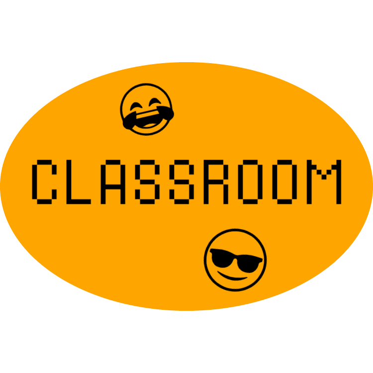 Orange classroom sign