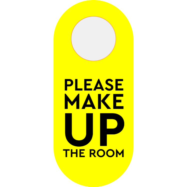 Make up the room - yellow door hanger