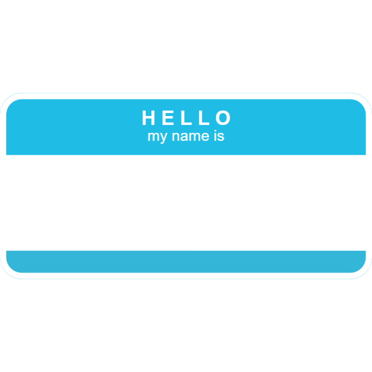 Hello my name is - light blue name tag