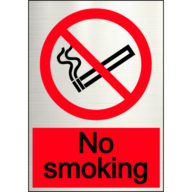Aluminium no smoking sign