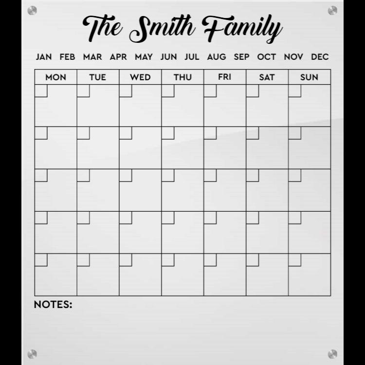 Personalized Acrylic Calendar
