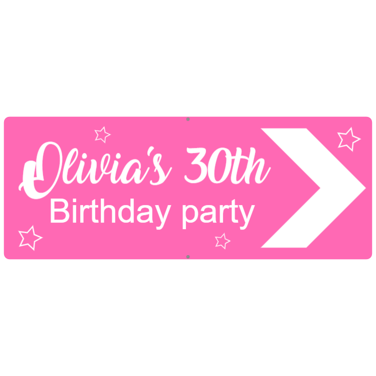 Pink engraved birthday sign