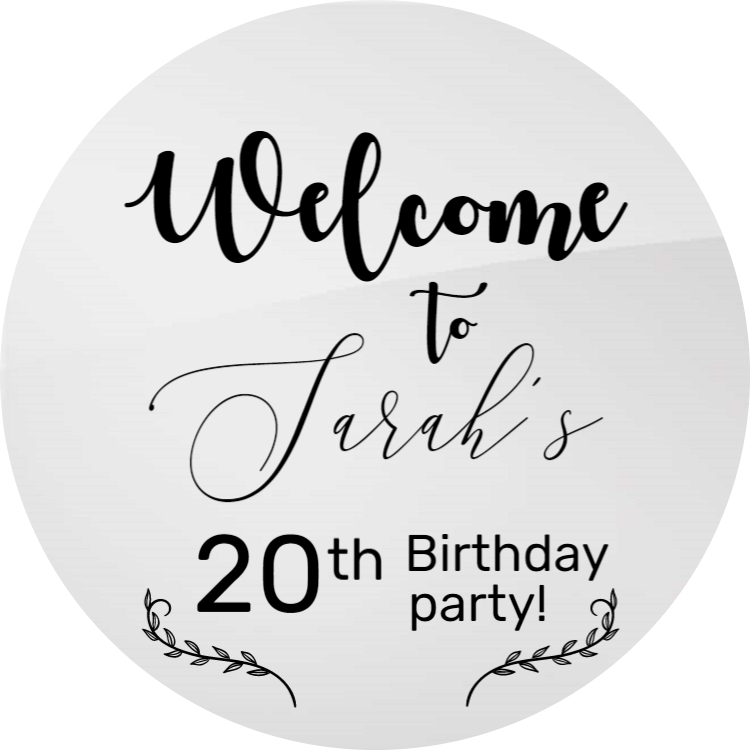 Welcome to birthday party - Round acrylic sign