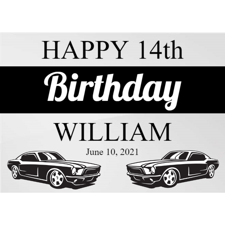 Acrylic Birthday sign with cars