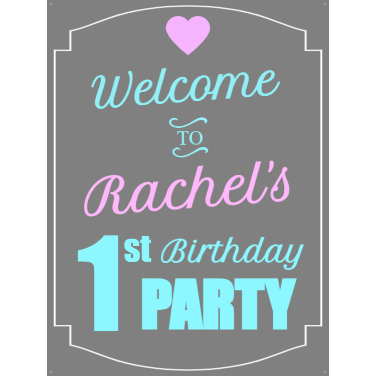Grey Birthday sign