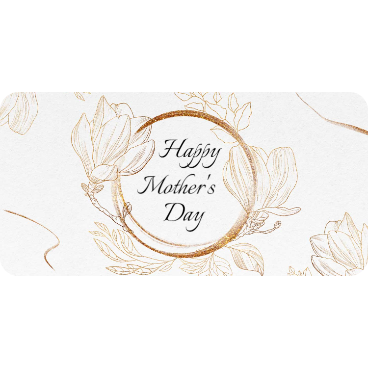 Happy Mother's Day - sticker with gold flowers