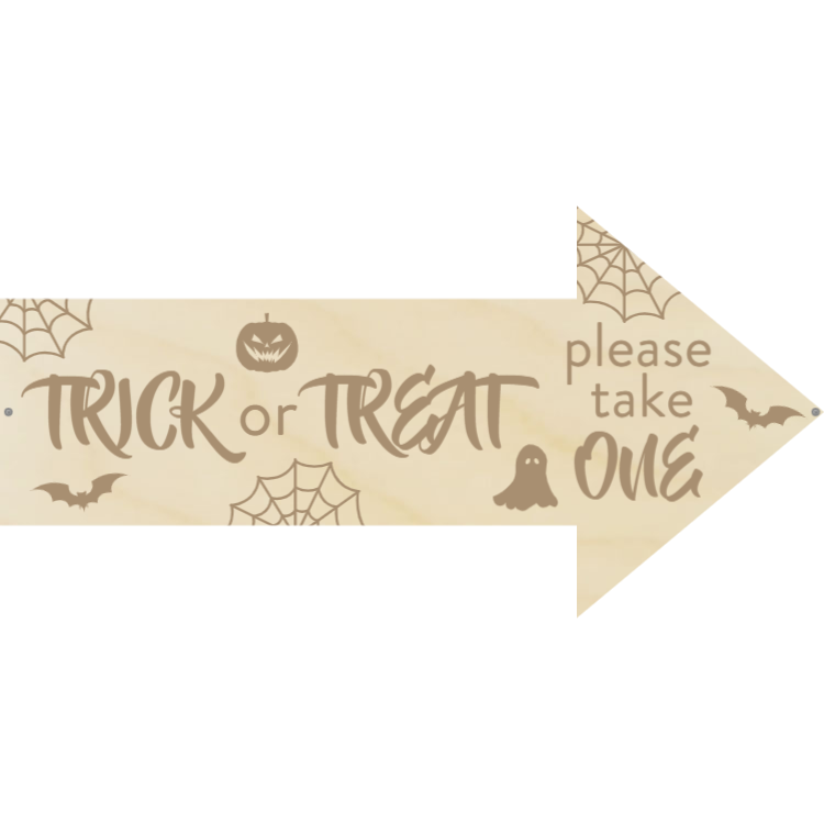 Trick or treat - Arrow sign