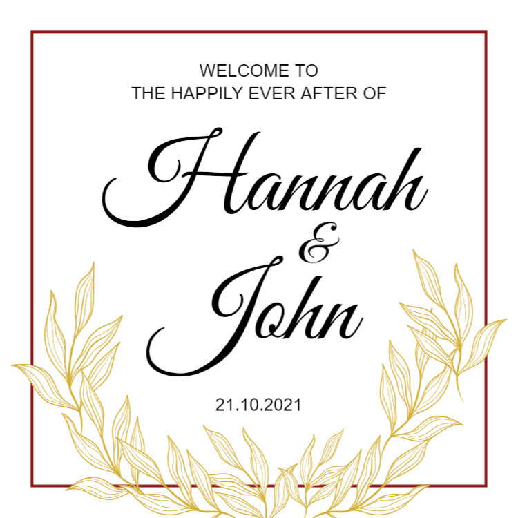 Printed wedding welcome sign