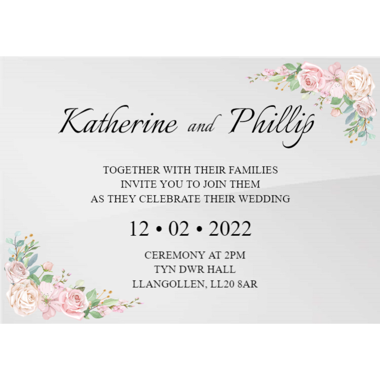 Horizontal Acrylic Wedding Invitation