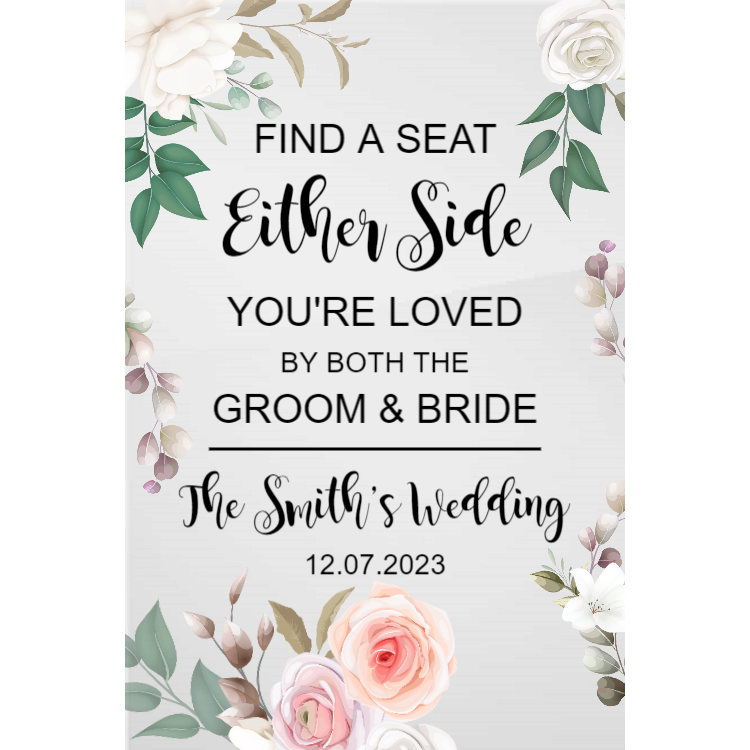 Floral Seating Wedding Sign