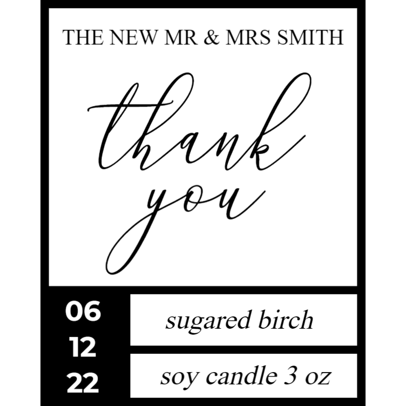 Sticker for Candle - Wedding Favor