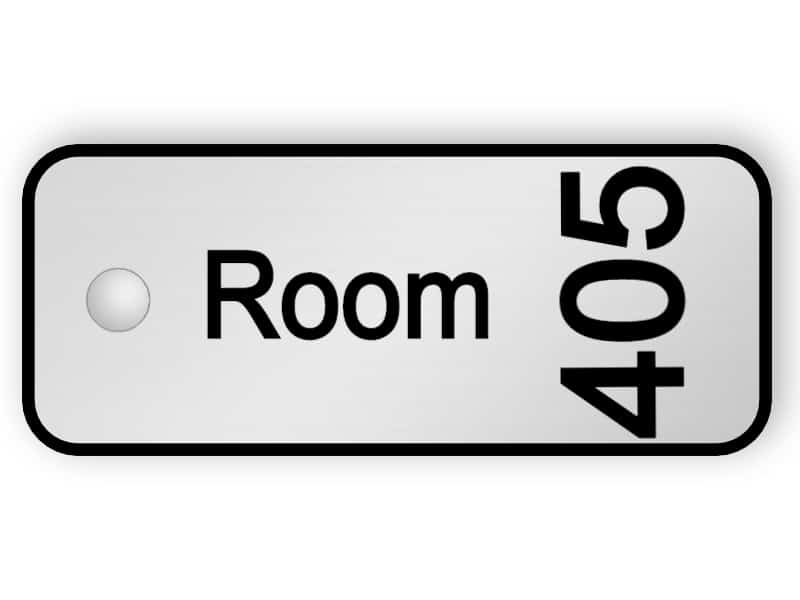 Door key tag - silver tag with room number