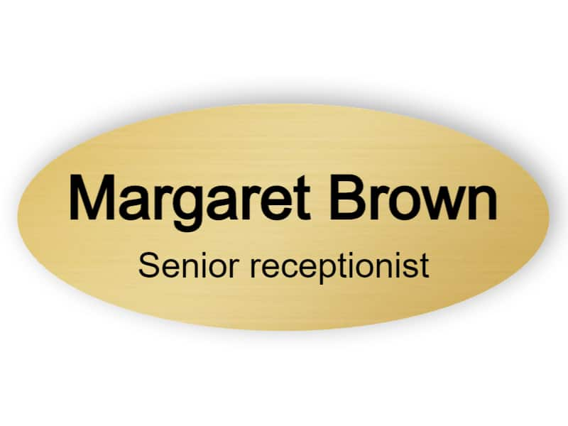 Senior receptionist name tag