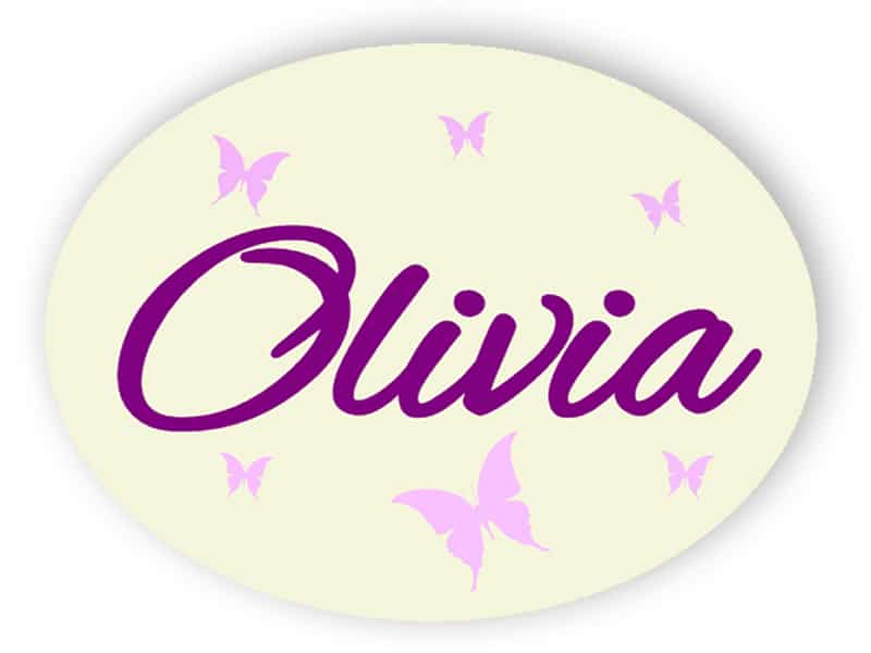 Child name sign with butterflies