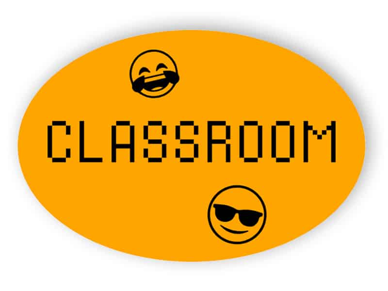 Orange classroom sign