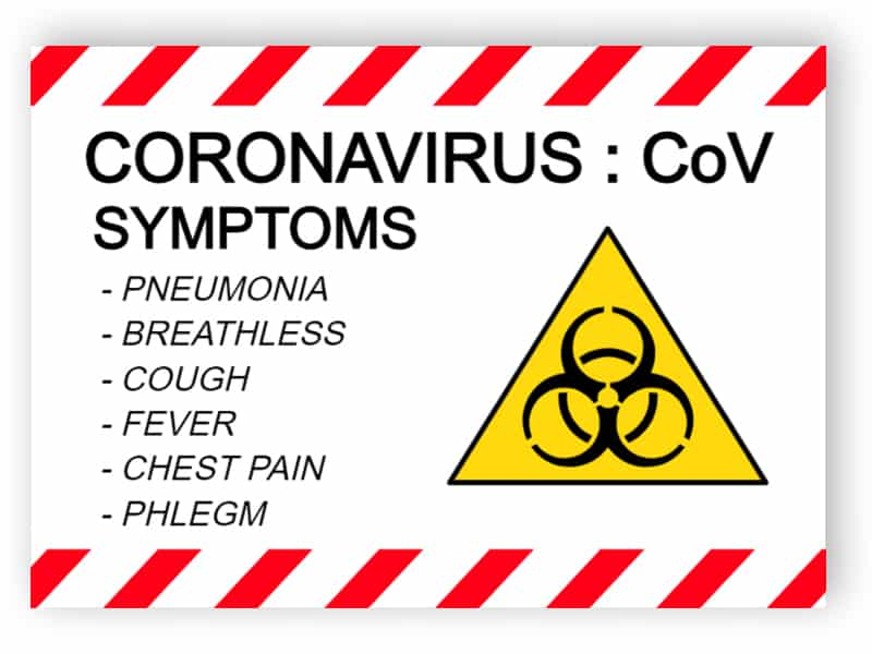 Coronavirus, CoV, symptoms - sticker