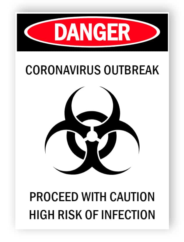 Danger - coronavirus outbreak - sticker