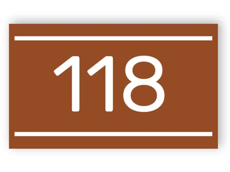 Door number - rectangular, brown with lines