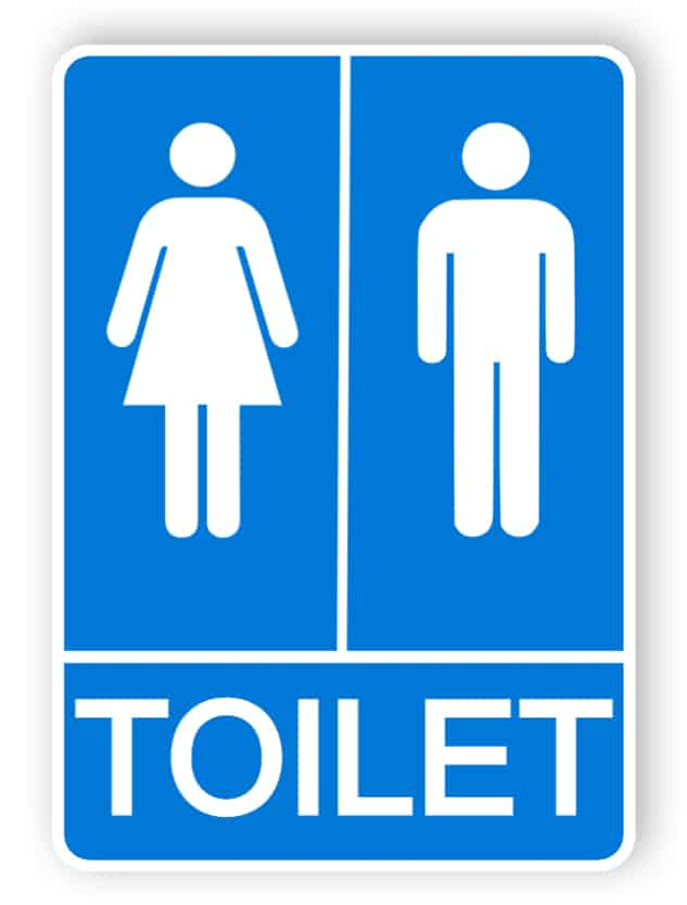 Blue toilets sign